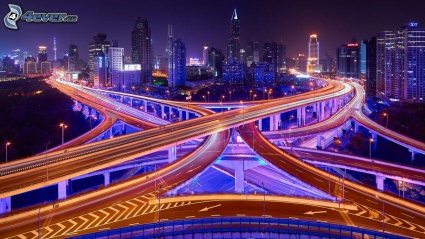 motorvägsbro, trafik, nattstad