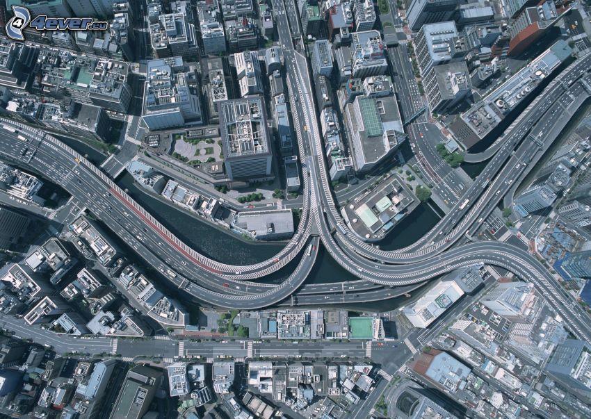 motorvägskorsning, stad