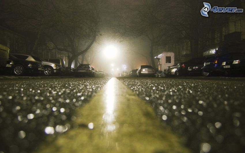 nattstad, bilar, väg