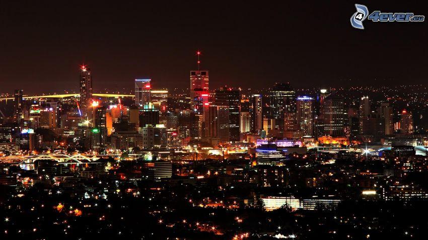nattstad, stadsutsikt, skyskrapor