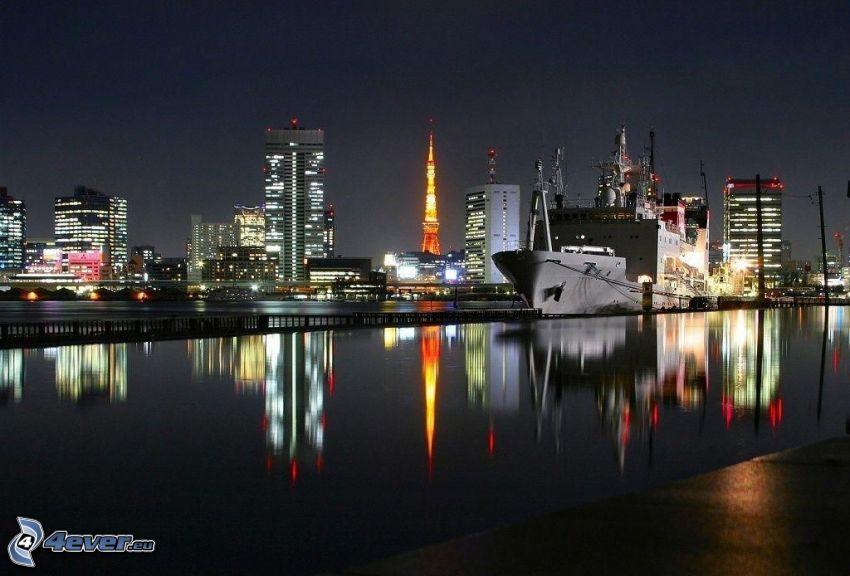 nattstad, Tokyo, hamn, fraktfartyg, Tokyo Tower