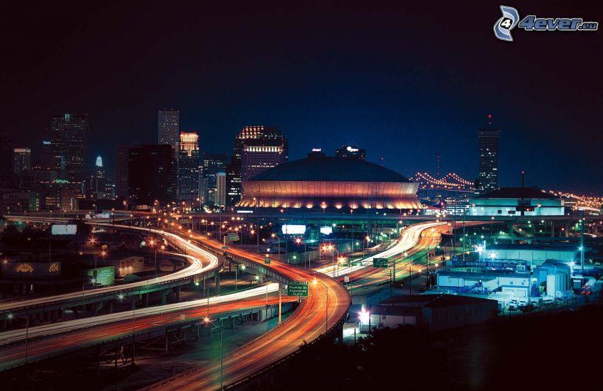 New Orleans, nattstad, motorväg på natten, ljus