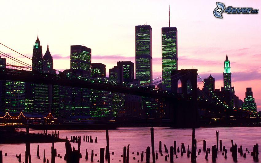 New York, Brooklyn Bridge, World Trade Center, kvällsstad, lila himmel