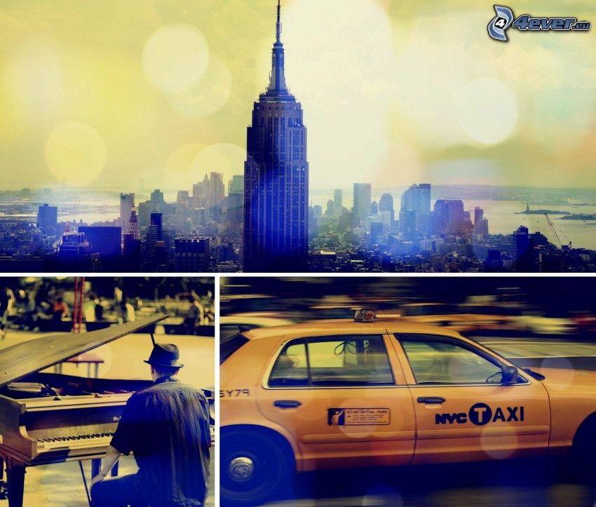 New York, Empire State Building, piano, NYC Taxi