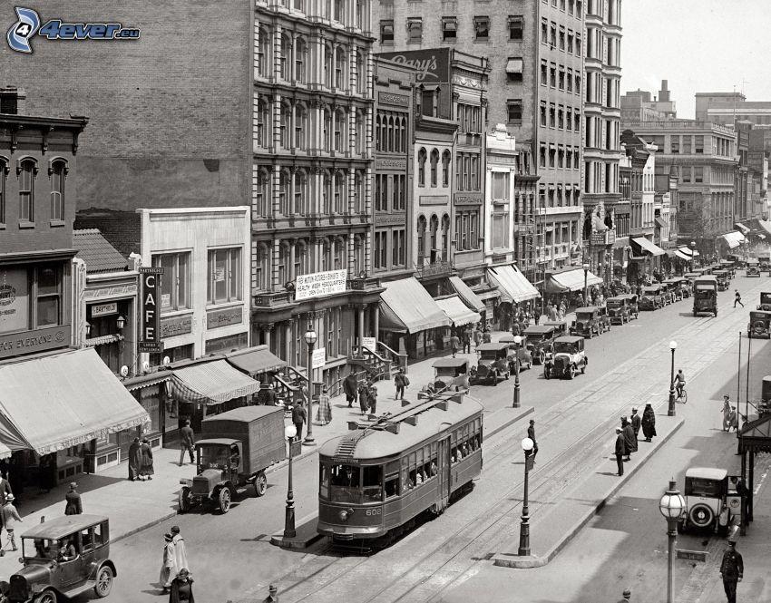 New York, gammalt foto, spårvagn