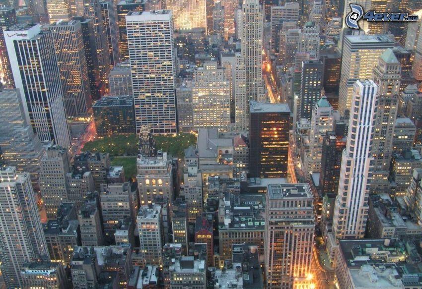 New York, kväll, stadsutsikt, skyskrapor