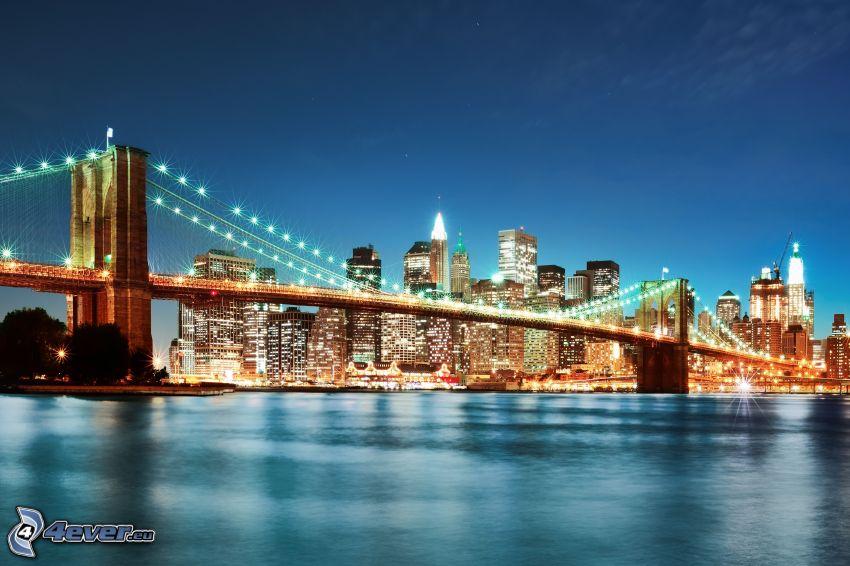 New York, kvällsstad, Brooklyn Bridge