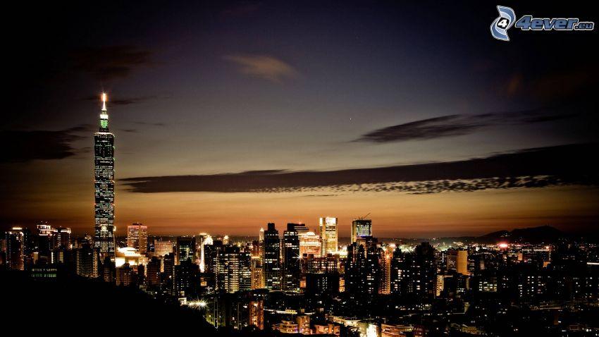 New York, kvällsstad, stadsutsikt