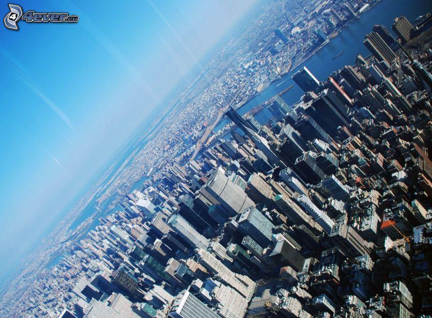 New York, Manhattan, skyskrapor, USA, stadsutsikt