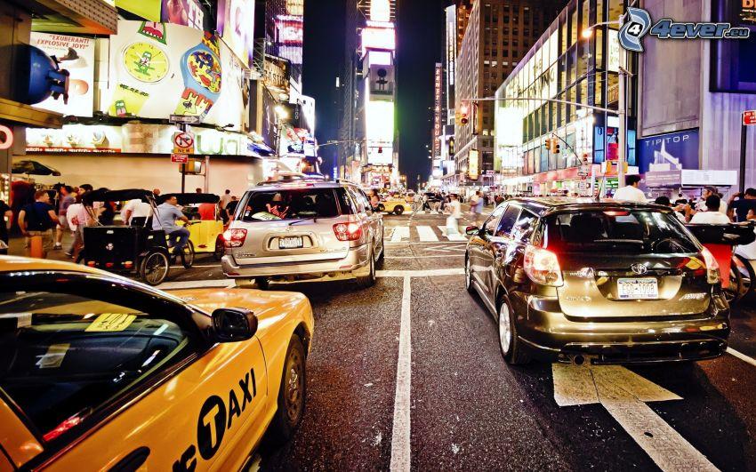 New York, nattstad, gata, bilar