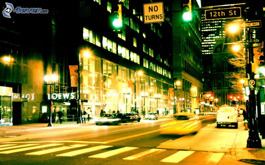 New York, nattstad, gata