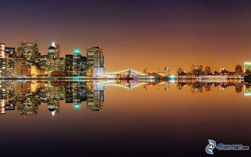 New York, nattstad, skyskrapor, hav, spegling