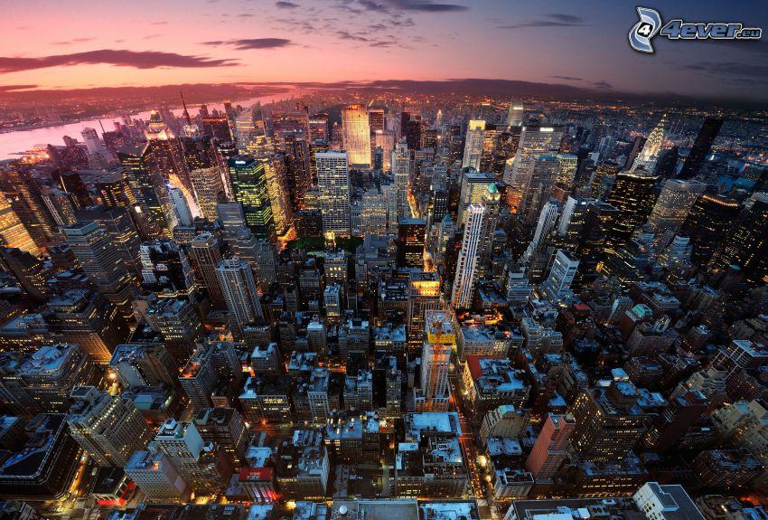New York, nattstad, skyskrapor, stadsutsikt