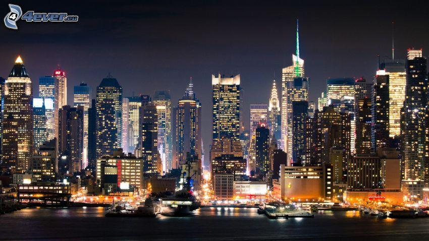 New York, nattstad, skyskrapor