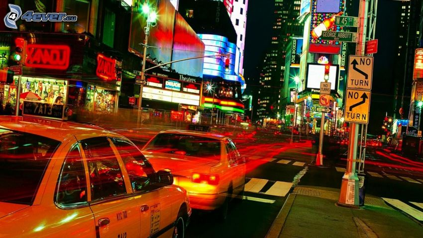 New York, NYC Taxi, nattstad