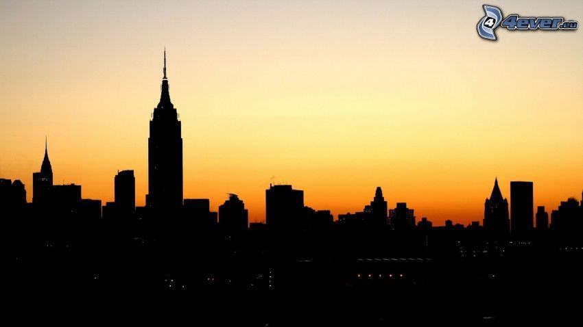 New York, silhuett av stad, Empire State Building