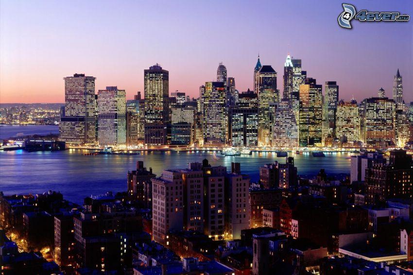 New York, skyskrapor, kvällsstad