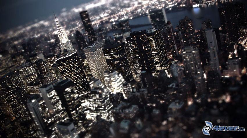 New York, skyskrapor, nattstad, Chrysler Building