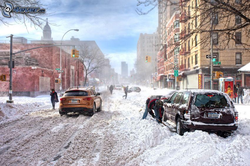 New York, snöig gata, bilar