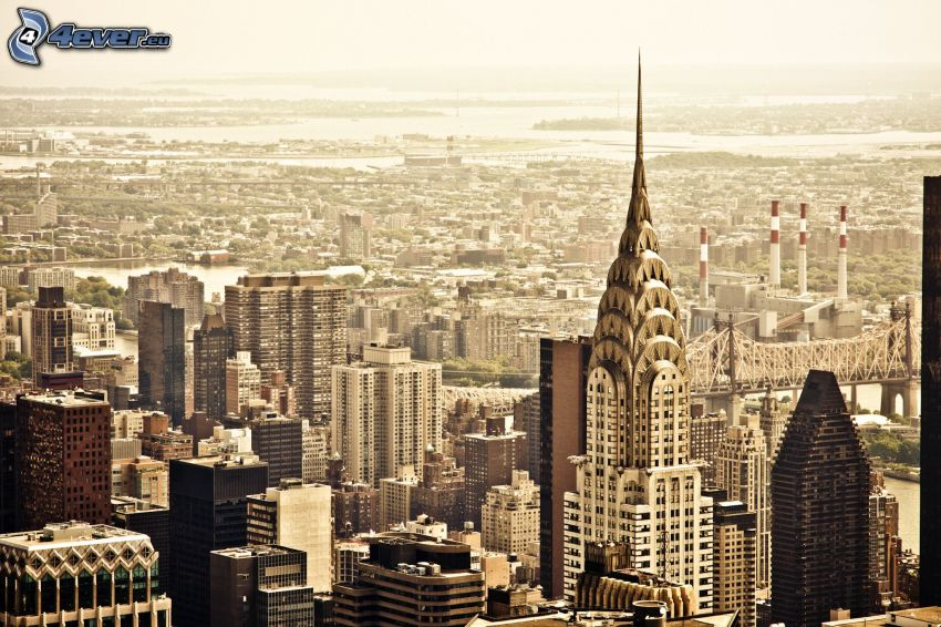 New York, stadsutsikt, Chrysler Building, skyskrapor, sepia