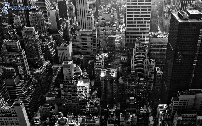 New York, stadsutsikt, skyskrapor, svart och vitt