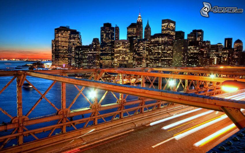 New York, USA, skyskrapor, bro, kväll, solnedgång