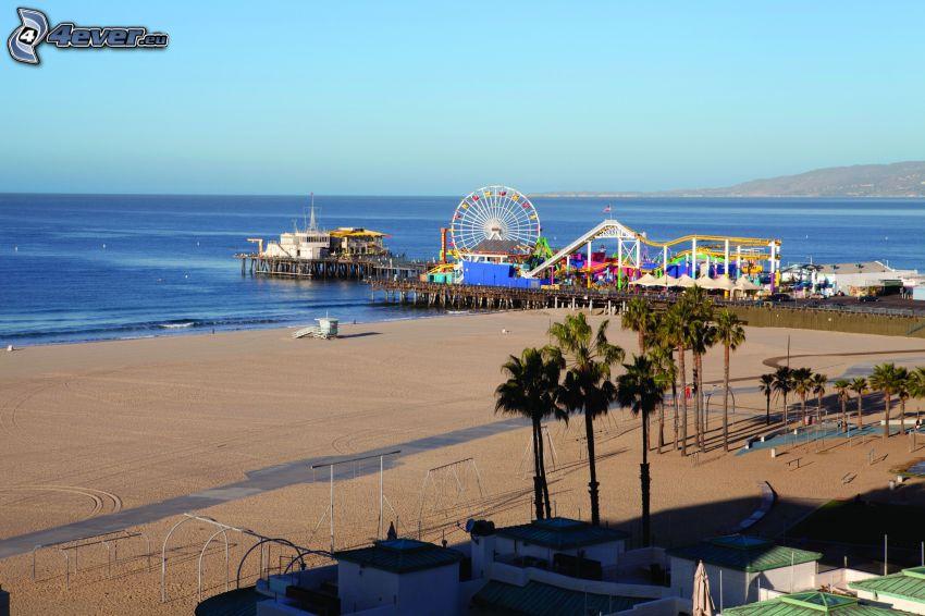 nöjespark, pariserhjul, öppet hav, sandstrand, Santa Monica