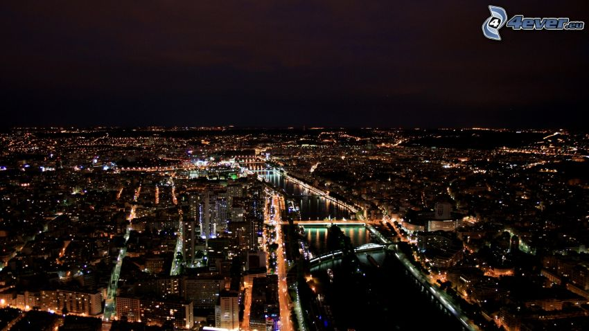 Paris, Frankrike, stadsutsikt, natt, belysning