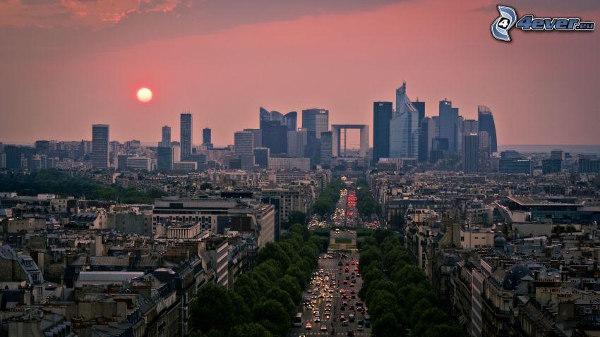 Paris, La Défense, solnedgång, gata