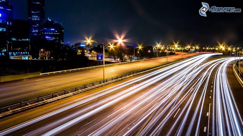 Perth, motorväg, ljus, nattstad