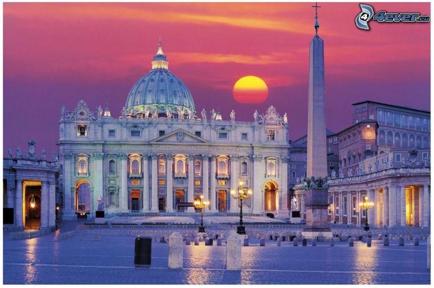 Peterskyrkan, Vatikanstaten, Rom, torg, solnedgång i staden