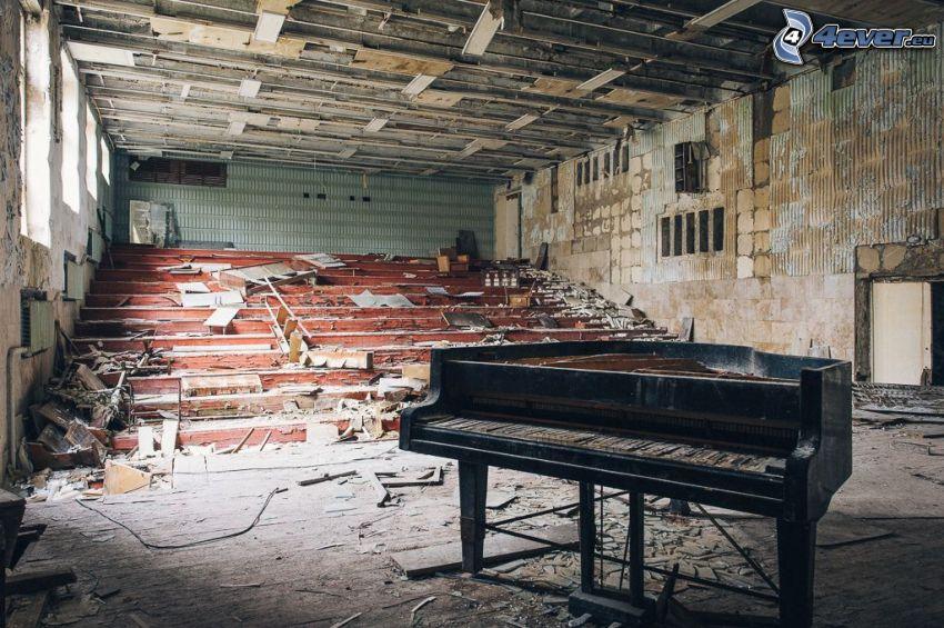 piano, gammal byggnad, Pripyat