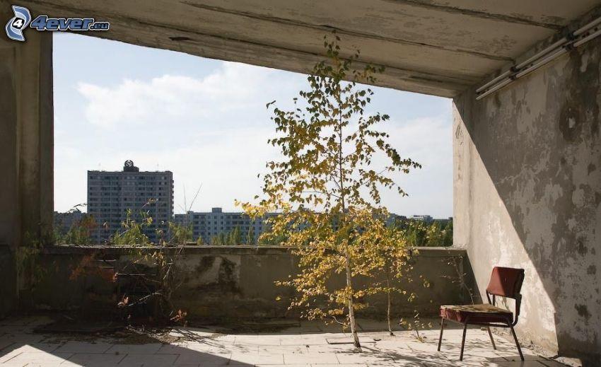 Pripyat, gammal byggnad, utsikt