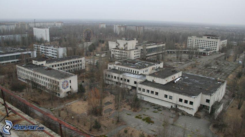 Pripyat, lägenheter, förstörd stad