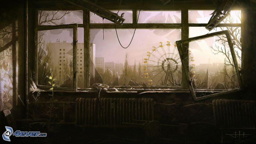 Pripyat, pariserhjul, gammal byggnad, utsikt