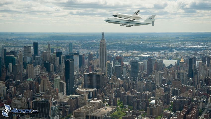 rymdfärjan Enterprise, Boeing 747, Manhattan, New York, Empire State Building