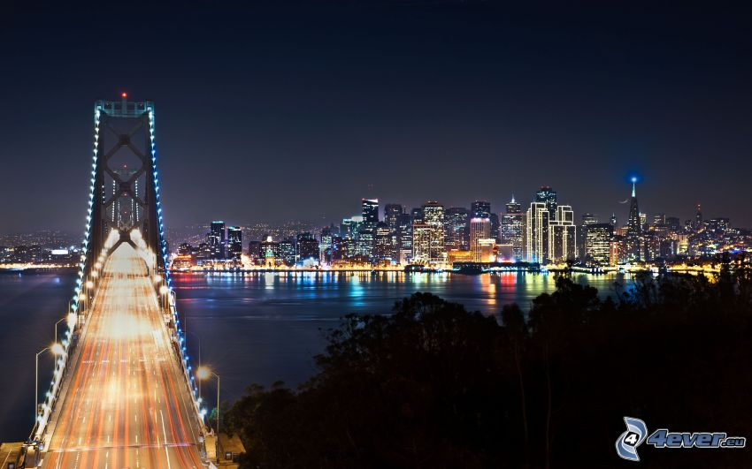 San Francisco, Bay Bridge, nattstad