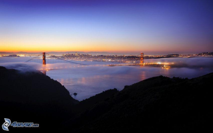 San Francisco, Golden Gate, kvällsstad, dimma
