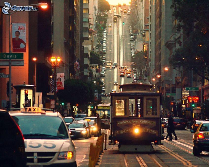 San Francisco, spårvagn, bilar, gata, kvällsstad, gatlyktor