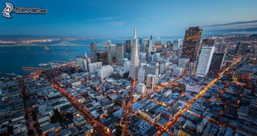 San Francisco, USA, kvällsstad