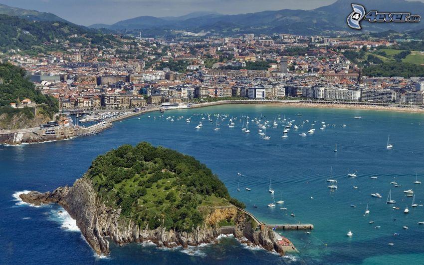 San Sebastián, badort, yachthamn