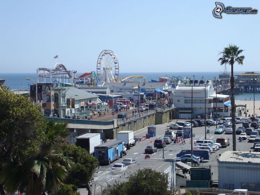Santa Monica, gata, pariserhjul, hav