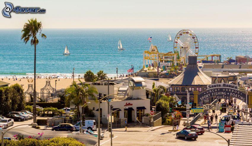 Santa Monica, nöjespark, pariserhjul, öppet hav