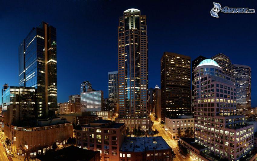 Seattle, nattstad, skyskrapor