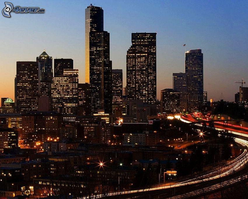 Seattle, skyskrapor, kvällsstad