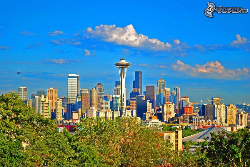 Seattle, Space Needle, stadsutsikt