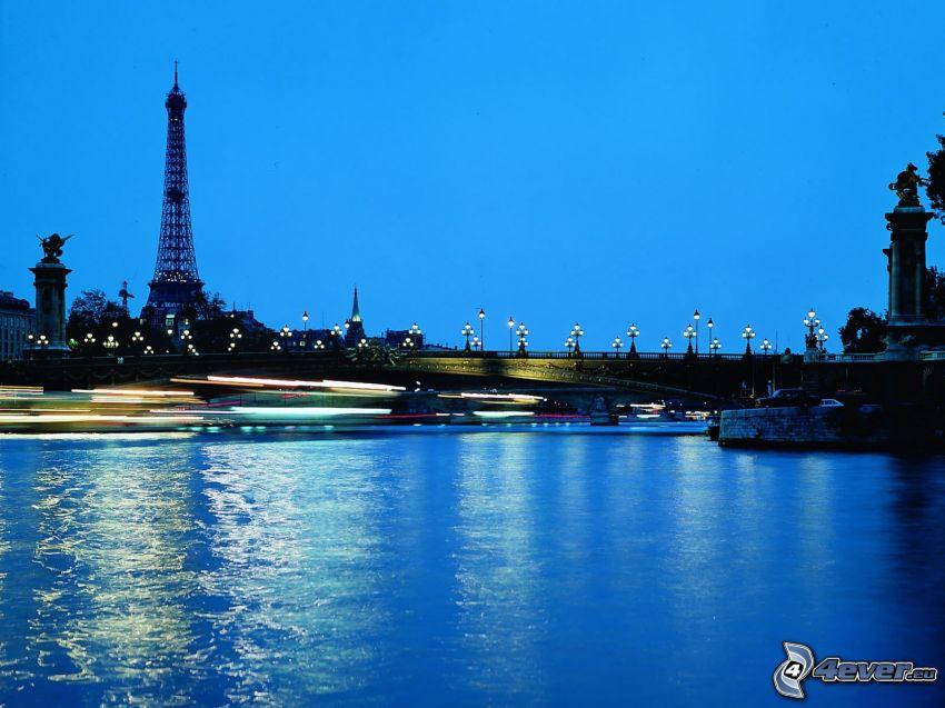 Seine, Paris, Eiffeltornet, flod, kvällsstad