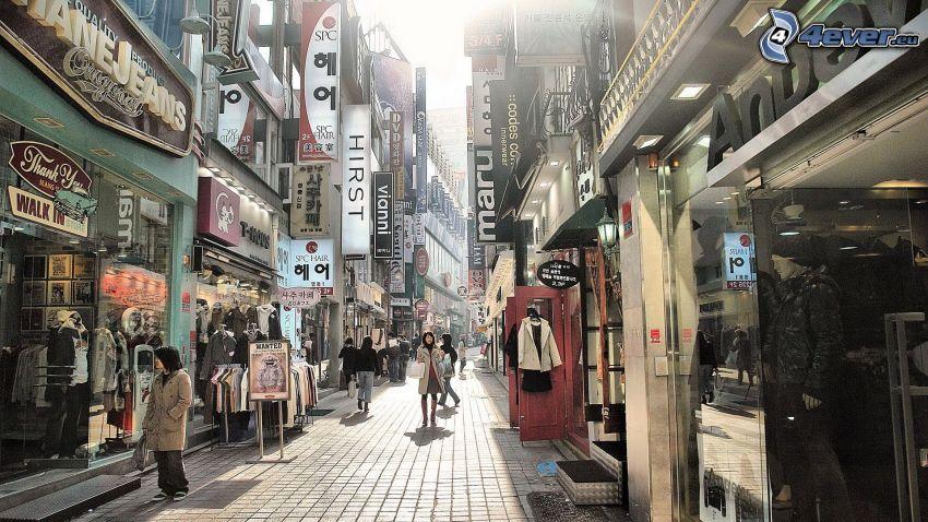 Seoul, gata, gångväg