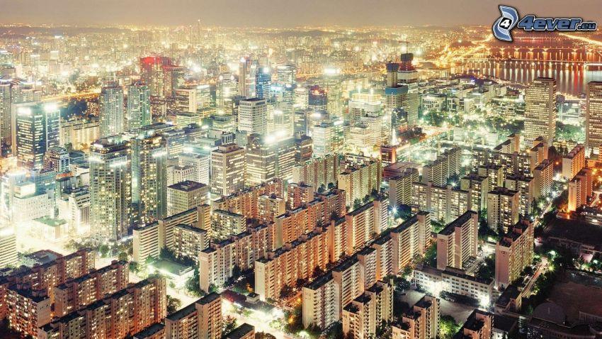 Seoul, nattstad, belysning