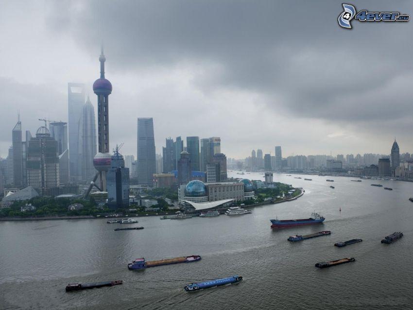 Shanghai, fartyg, skyskrapor, dimma